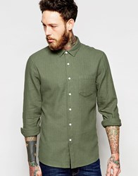 Asos Herringbone Shirt In Linen Mix With Long Sleeves Green