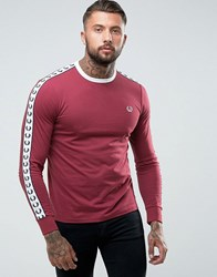 Fred Perry Slim Fit Sports Authentic Taped Long Sleeve T Shirt In Burgundy Maroon Red