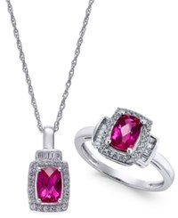 Macy's Lab Created Ruby 2 Ct. T.W. And White Sapphire 5 8 Ct. T.W. Pendant Necklace And Matching Ring Set In Sterling Silver