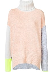 Tomorrowland Colour Block High Neck Jumper Pink