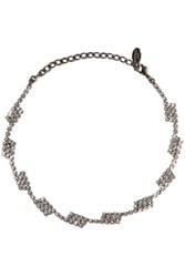 Elizabeth Cole Gunmetal Tone Crystal Necklace