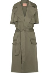 Maggie Marilyn The Brave Ruffle Trimmed Stretch Cotton Twill Gilet Army Green