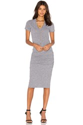 Monrow V Neck Shirt Dress Gray
