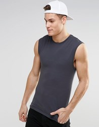 Asos Extreme Muscle Sleeveless T Shirt In Washed Black Washed Black