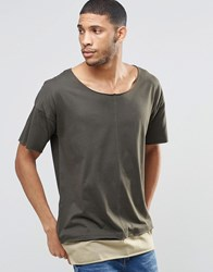 Asos Super Longline T Shirt With Seam Detail And Boat Neck In Mock Double Layer In Green Comrade Khaki