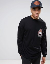 Asos Dropped Shoulder Oversized Long Sleeve With Flaming Ball Print Black
