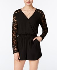 One Clothing Juniors' Surplice Lace Romper Black