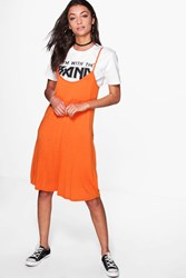 Boohoo Liya Cami Swing Dress Orange