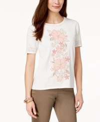 Alfred Dunner Petite La Dolce Vita Embroidered Studded Sweater Ivory