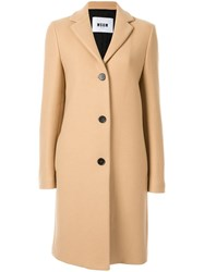 Msgm Single Breasted Coat Brown