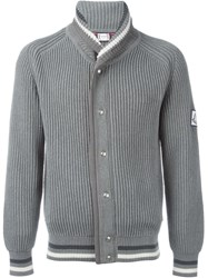 Moncler Gamme Bleu Ribbed Knit Cardigan Grey
