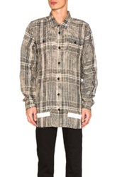 Off White Linen Check Shirt In Black Checkered And Plaid Black Checkered And Plaid
