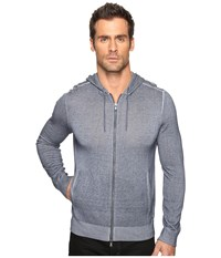 John Varvatos Cold Dye Long Sleeve Zip Front Hoodie Sweater With Herringbone Stitch Details Y1427s4b Navy Men's Sweater