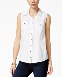 Styleandco. Style And Co. Sleeveless Denim Shirt Only At Macy's Bright White