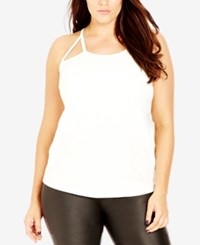 City Chic Plus Size Cutout Racerback Tank Top Ivory