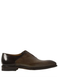 Francesco Benigno Laser Cut Leather Oxford Lace Up Shoes
