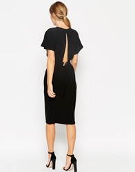 Asos Wiggle Dress In Crepe With Open Back And D Ring Black