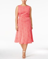 Jessica Howard Plus Size Floral Print Ruched A Line Dress Pink