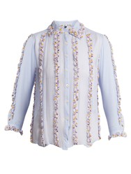 Jupe By Jackie Swan Embroidered Ruffle Silk Shirt Light Blue