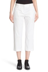 Dkny Stretch Cotton Twill Crop Pants White