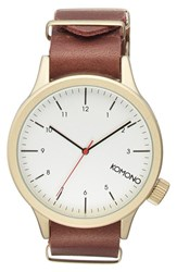 Komono Men's 'Magnus' Round Leather Strap Watch 46Mm