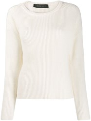 Federica Tosi Long Sleeve Fitted Sweater White