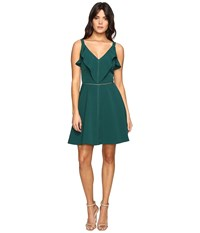 Adelyn Rae Woven Fit And Flare With Top Ruffle Green Women's Dress