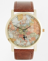 Asos Watch With Aeroplane Second Hand Brown