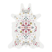 Podevache Flower Power Collection Vinyl Floor Mat White Multi