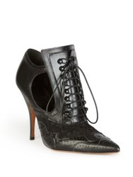 Givenchy Leather And Lace Lace Up Cutout Booties Black