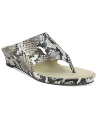 Tahari Mindy Wedge Thong Sandals Women's Shoes Black White Snake