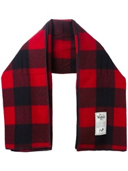 Woolrich Block Check Scarf Red