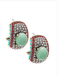 Heidi Daus Crystal And Turquoise Statement Earrings No Color