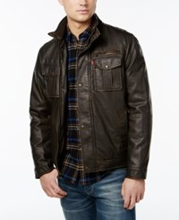 Levi's Faux Leather Military Bomber Jacket Dark Brown