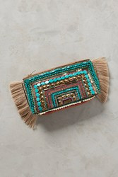 Anthropologie Beaded Fringe Clutch Turquoise