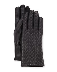 Neiman Marcus Chevron Quilted Leather Gloves Blk