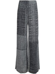 Jason Wu Checked Wide Leg Trousers Black