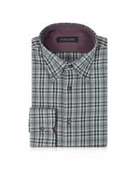Forzieri Gray And Burgundy Plaid Cotton Slim Fit Men's Shirt