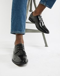 Dune Brogues In Black Hi Shine Leather With Studs