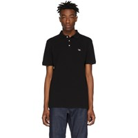Maison Kitsune Black Tricolor Fox Patch Polo