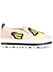 Msgm Banana Patch Platform Sneakers Women Cotton Leather Rubber 37 Nude Neutrals