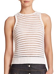 Carven Sleeveless Striped Knit Top White
