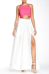 Tov Faux Leather Waist Front Zip Maxi Skirt White