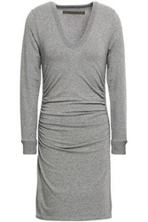 Enza Costa Woman Ruched Cotton Blend Jersey Mini Dress Gray