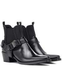 Prada Leather And Neoprene Ankle Boots Black
