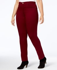 Style And Co Co. Plus Size Tummy Control Slim Leg Jeans Created For Macy's Scarlet Wine