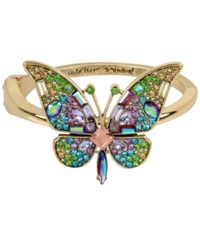 Betsey Johnson Gold Tone Crystal And Pave Butterfly Statement Ring Multi