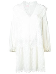 Giamba V Neck Embroidered Lace Dress White