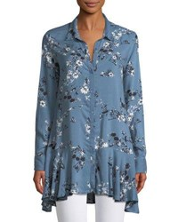 Chelsea And Theodore Floral Print Button Front Peplum Tunic Blue
