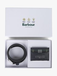 Barbour 125 Year Belt And Card Holder Gift Set Navy